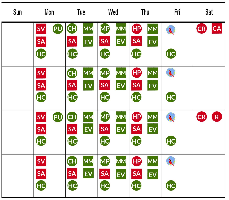 Food pantry calendar